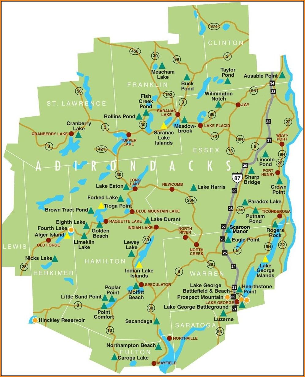 Map Of The Adirondacks Park