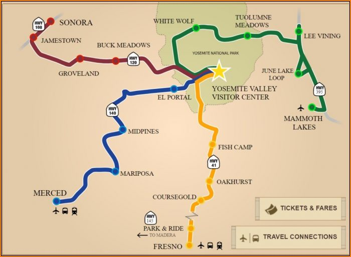 Map Of Yosemite National Park And Surrounding Areas