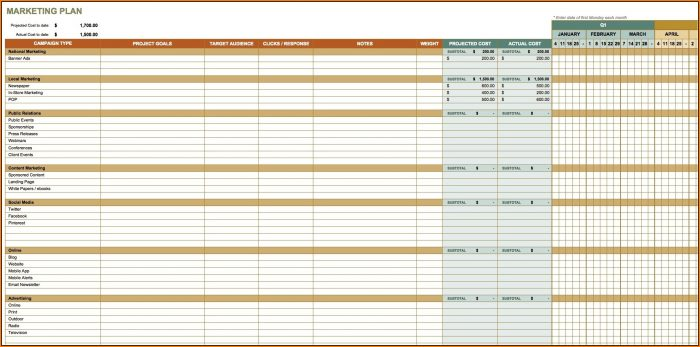 Marketing Plan Timeline Template Excel