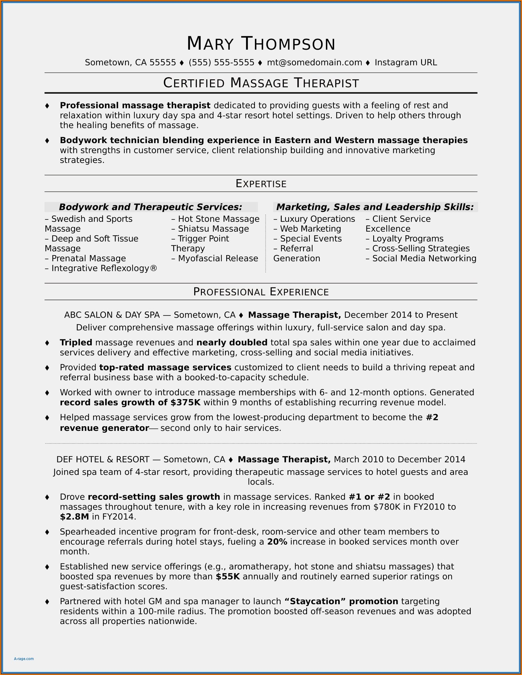 Massage Therapist Resume Template
