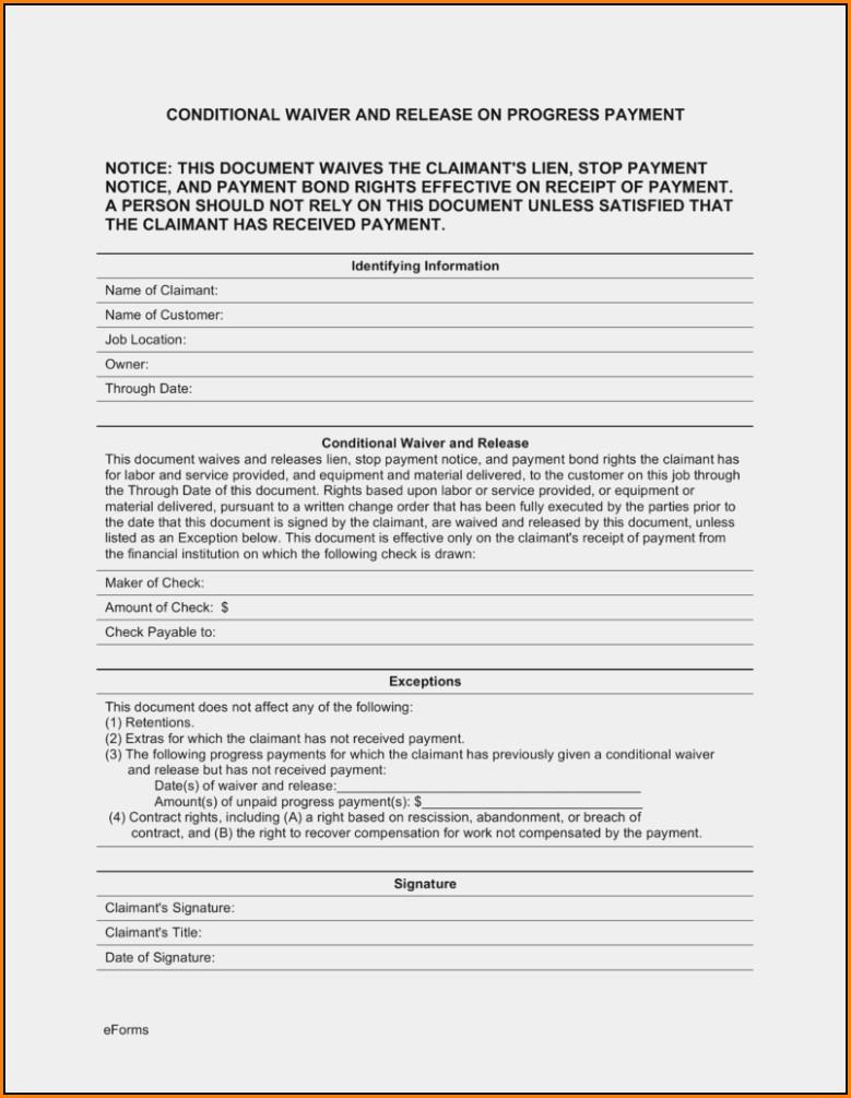 Mechanic Lien Release Form