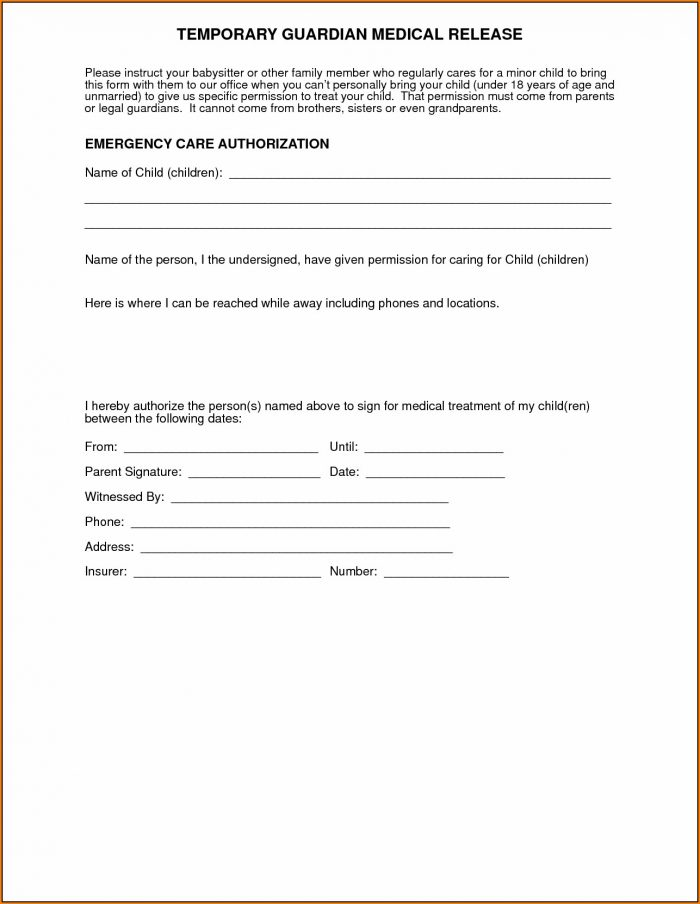 Medical Authorization Form For Grandparents