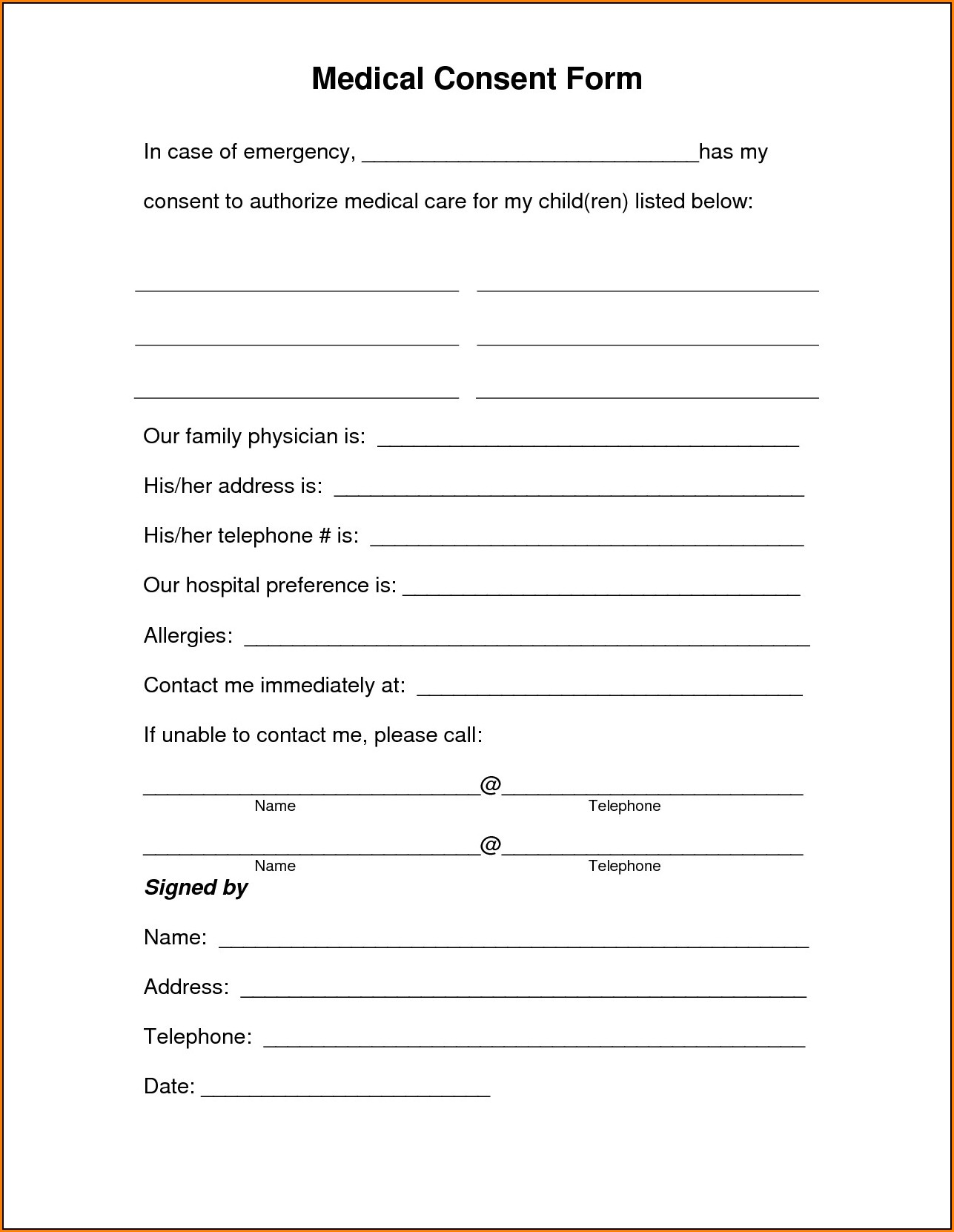 Medical Authorization Form For Grandparents Florida