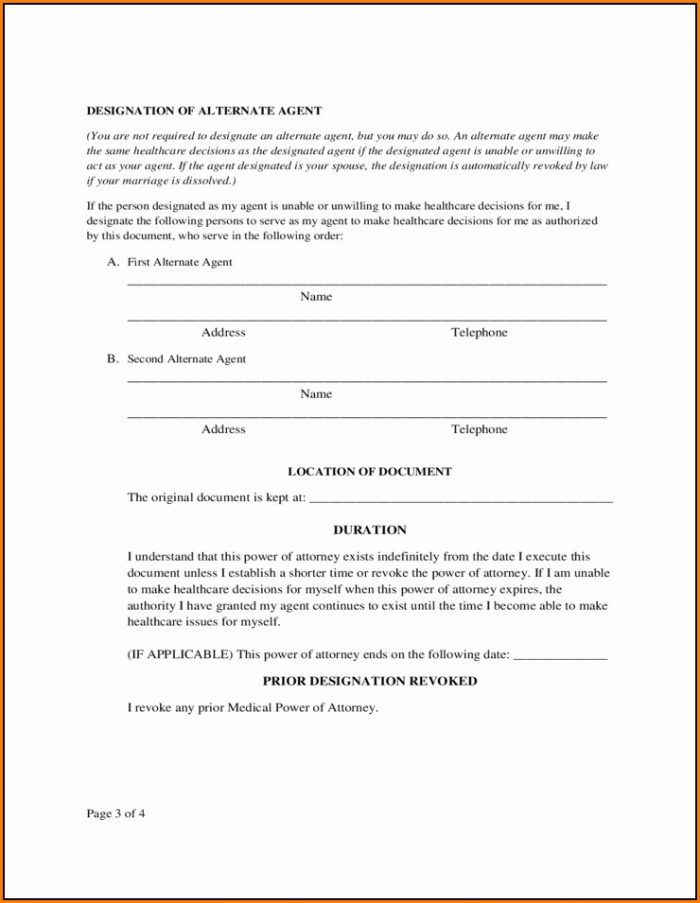 Medical Poa Form Texas
