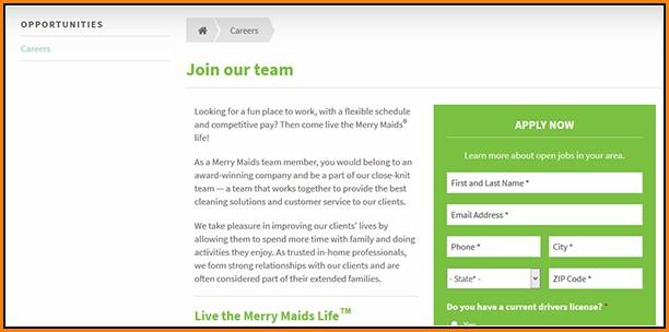 Merry Maids Job Application Online