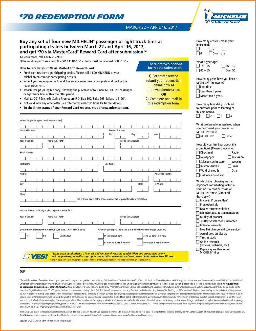 Michelin Rebate Form 2018