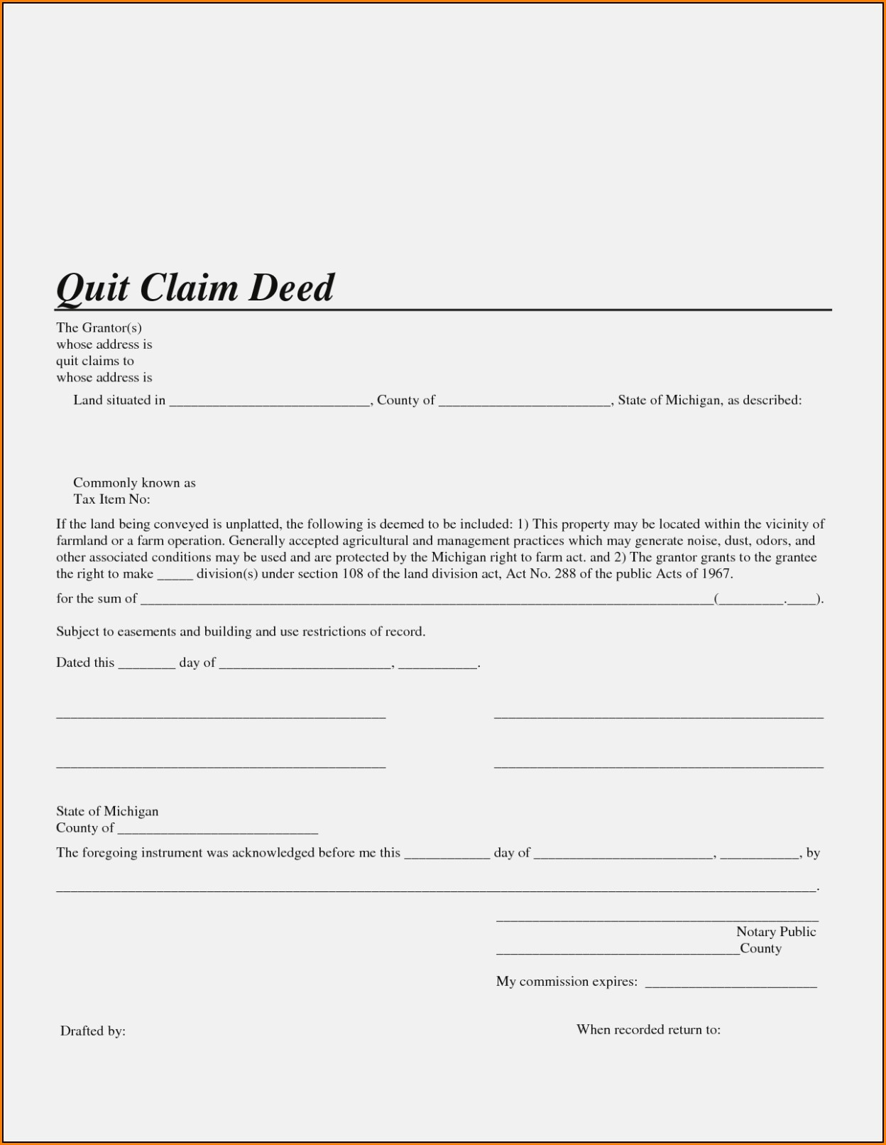 Michigan Quit Claim Deed Form Genesee County