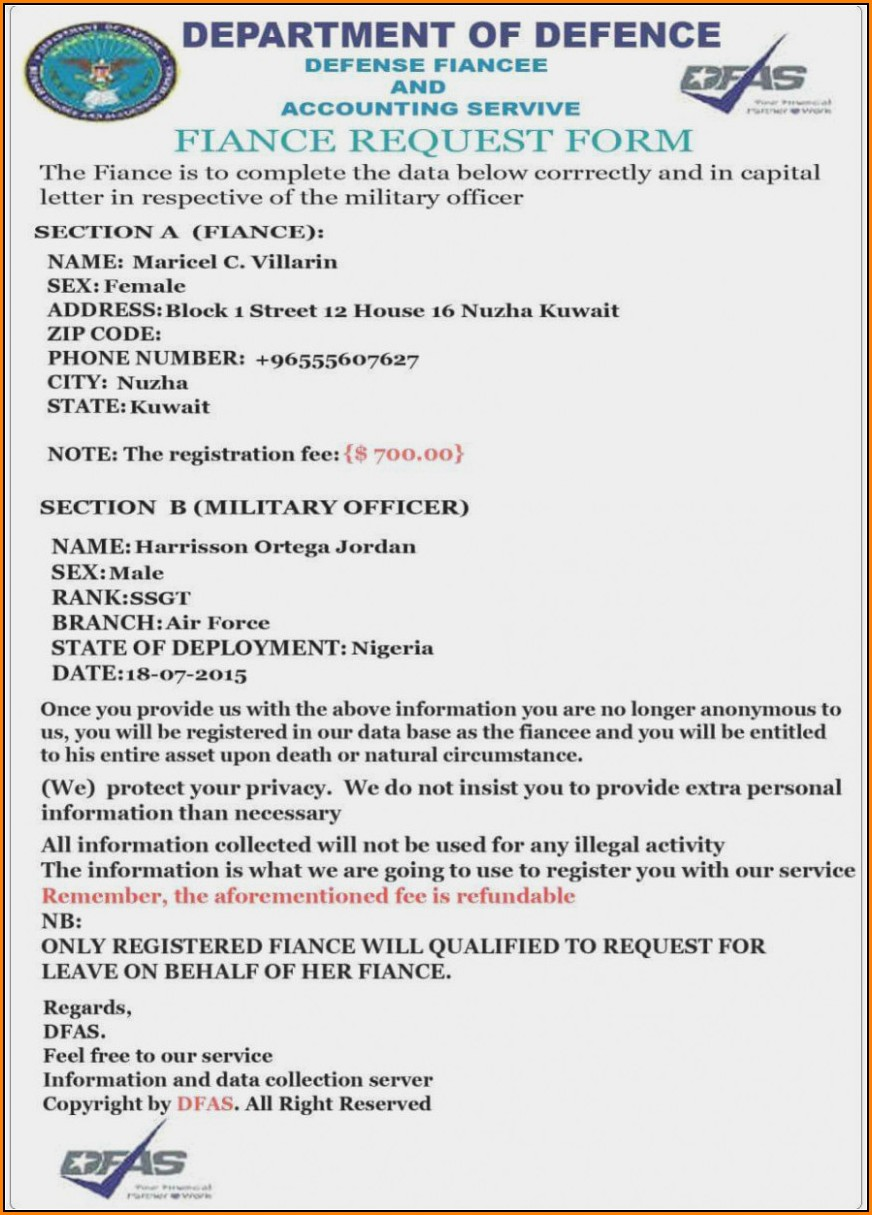 Military Fiance Form Form Resume Examples Govlnxe9va