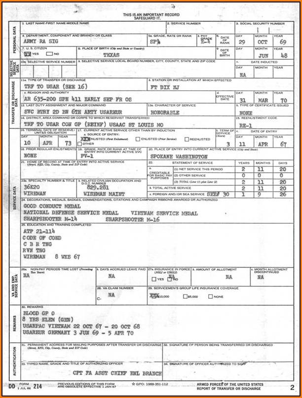 Military Form Dd214