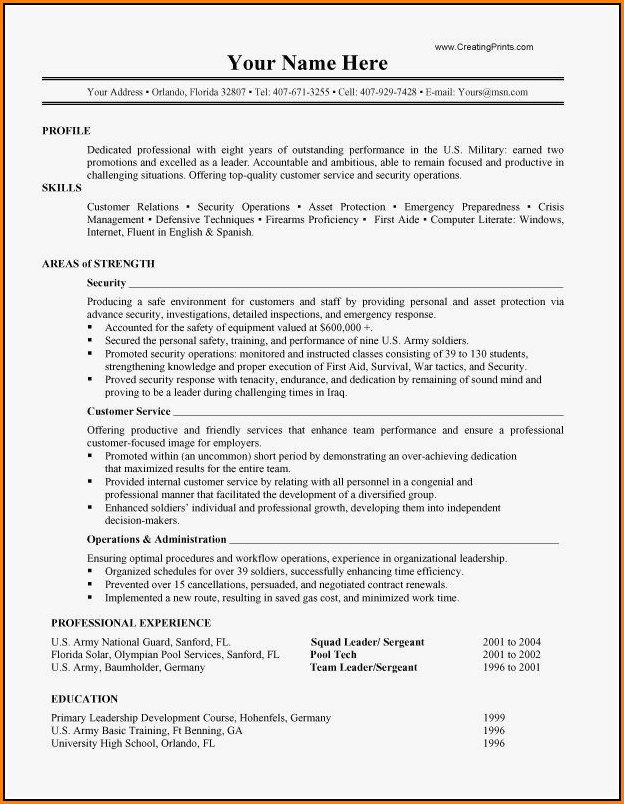 Military Resume Writing Examples