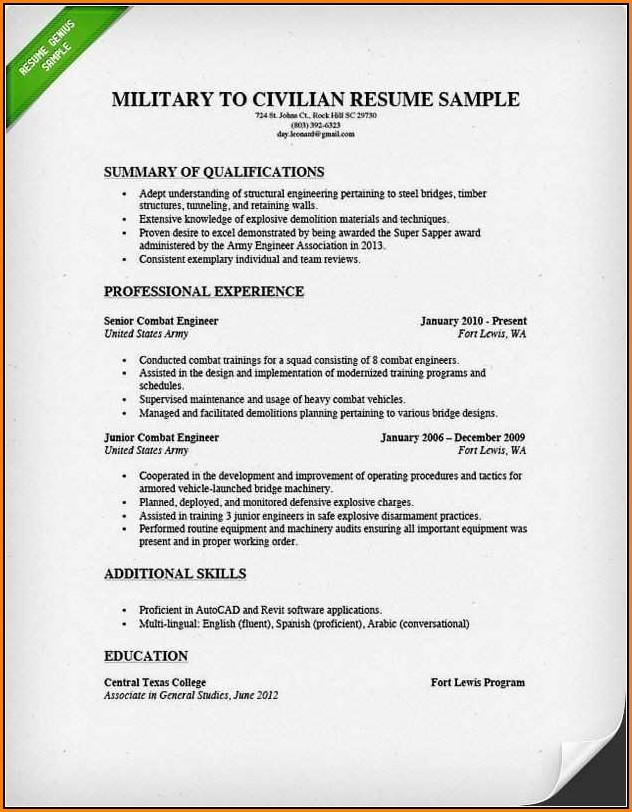 Military To Civilian Resume Builder
