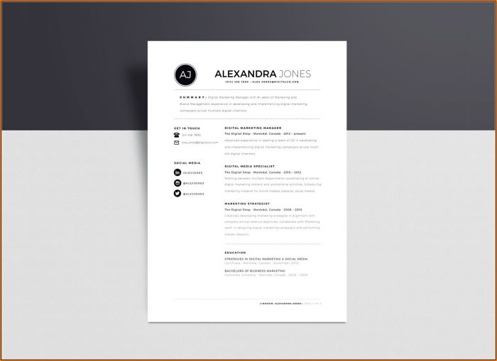 Minimalist Resume Template Word Free