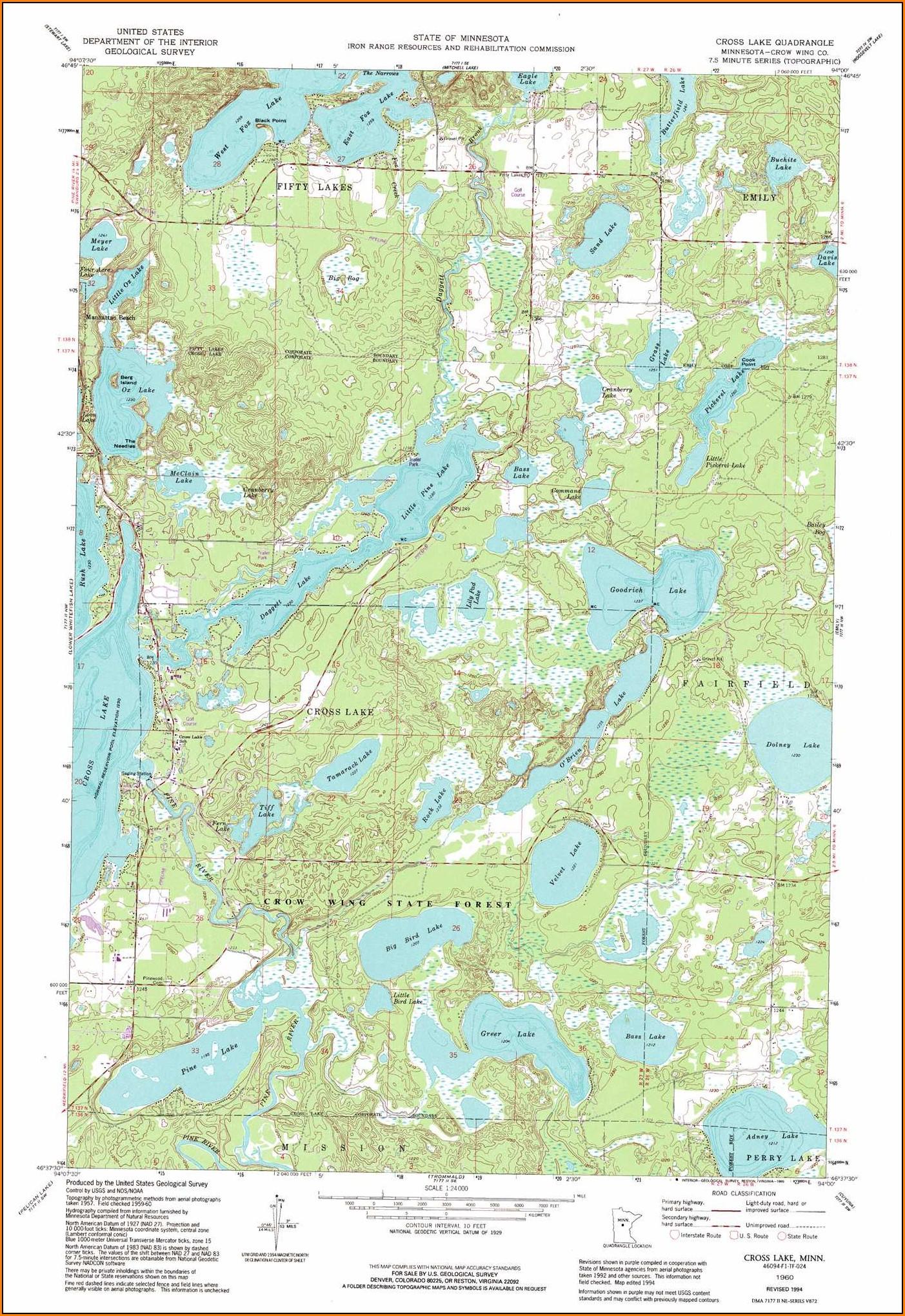 Minnesota Lake Contour Maps