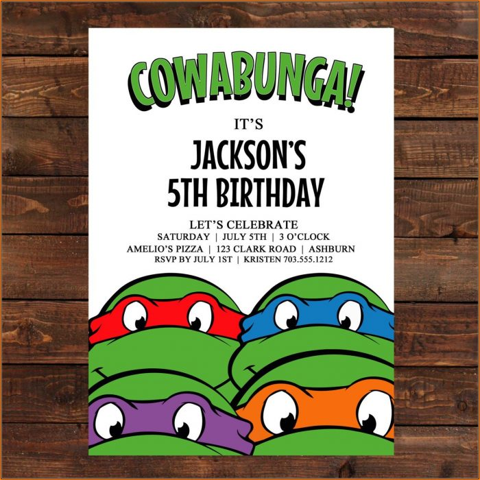 Ninja Turtles Invitation Template Free