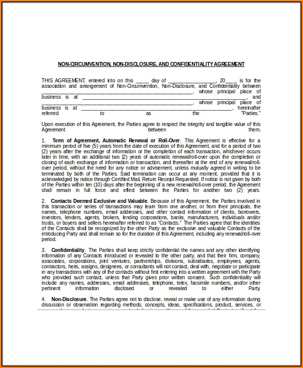 Non Circumvention Non Disclosure Agreement Template