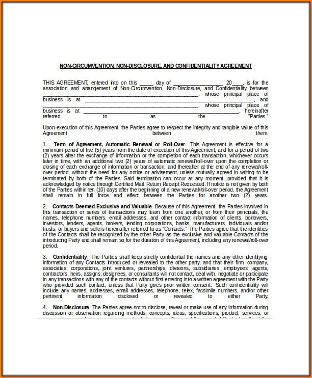 Non Circumvention Non Disclosure Agreement Template