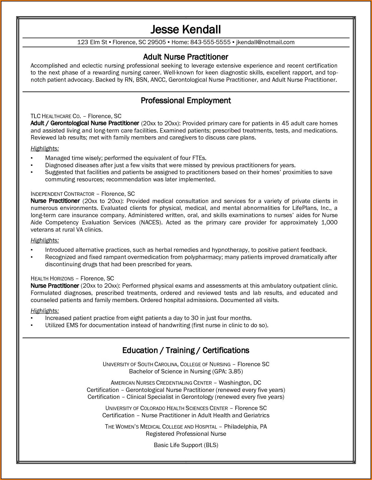 New Graduate Nurse Practitioner Resume Template لم يسبق له مثيل