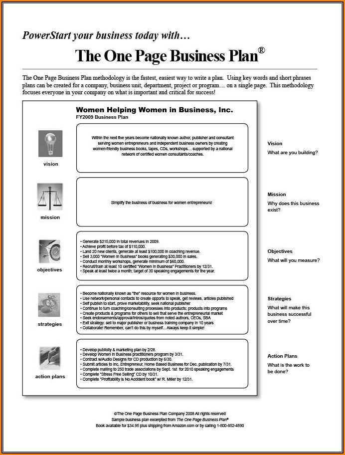 One Page Business Plan Template Pdf