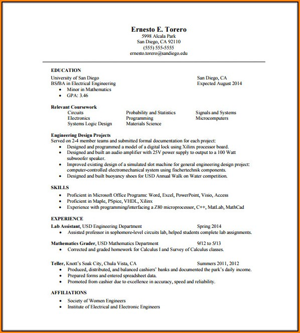 One Page Resume Template Word Free - Template 2 : Resume Examples ...