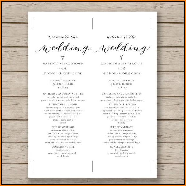 One Sided Wedding Program Template