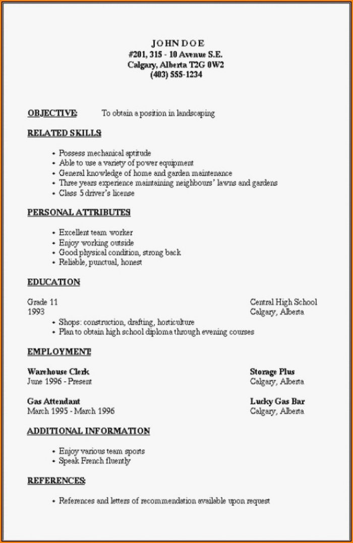 Outline Of A Resume Template