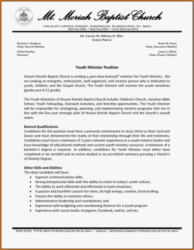 Pastor Resume Template