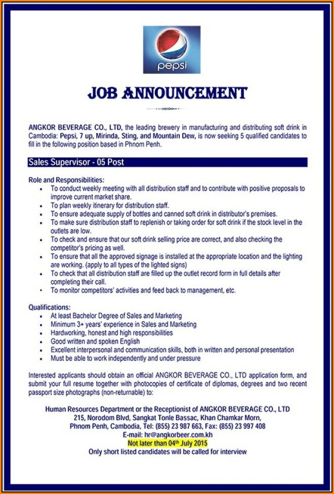 Pepsi Job Application Form