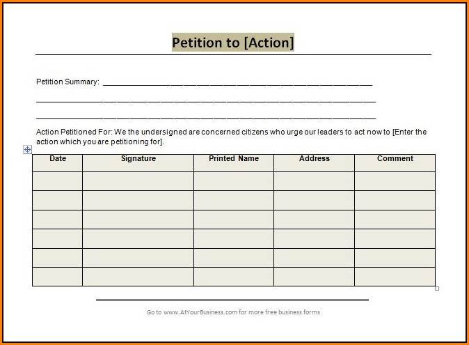Petition Forms Templates