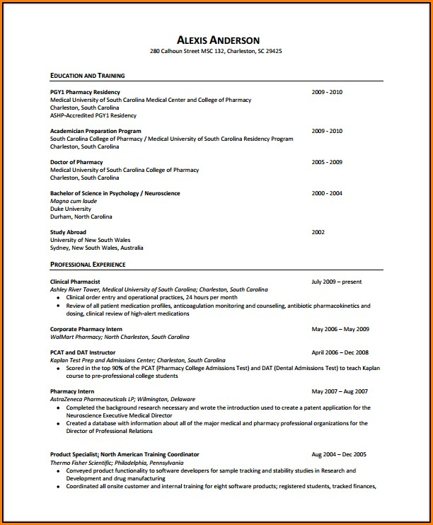 Pharmacist Resume Pdf