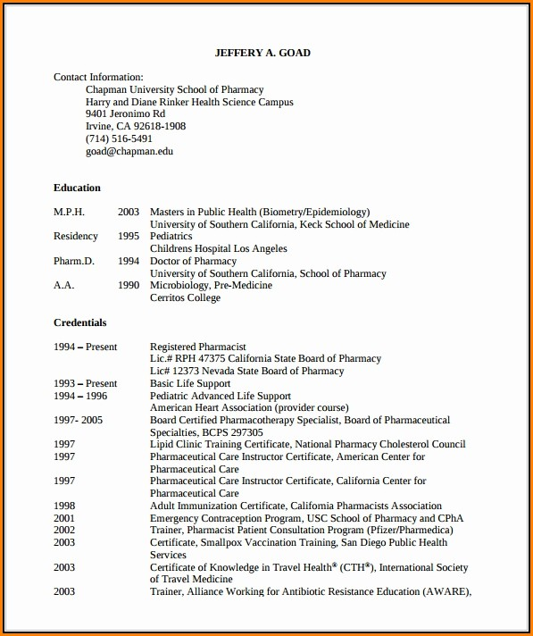 Pharmacist Resume Sample Pdf