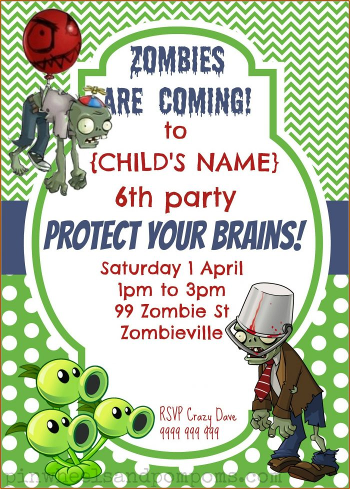 Plants Vs Zombies Free Invitation Template