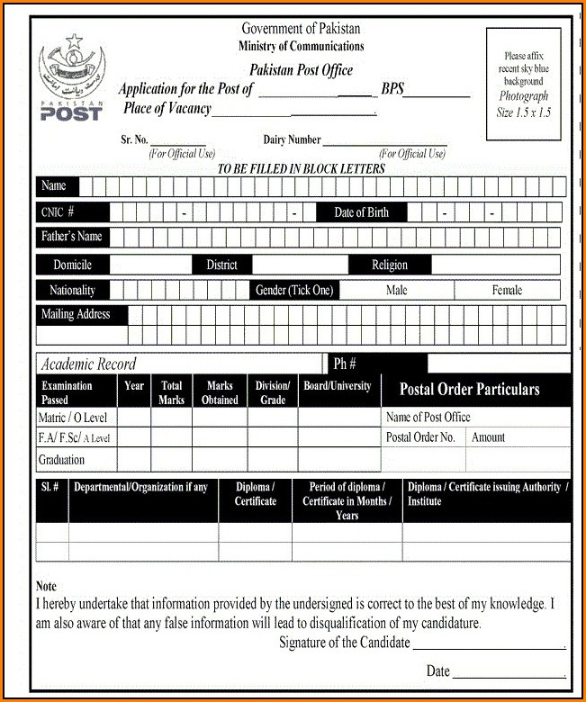 Post Office Job Application Form 2015