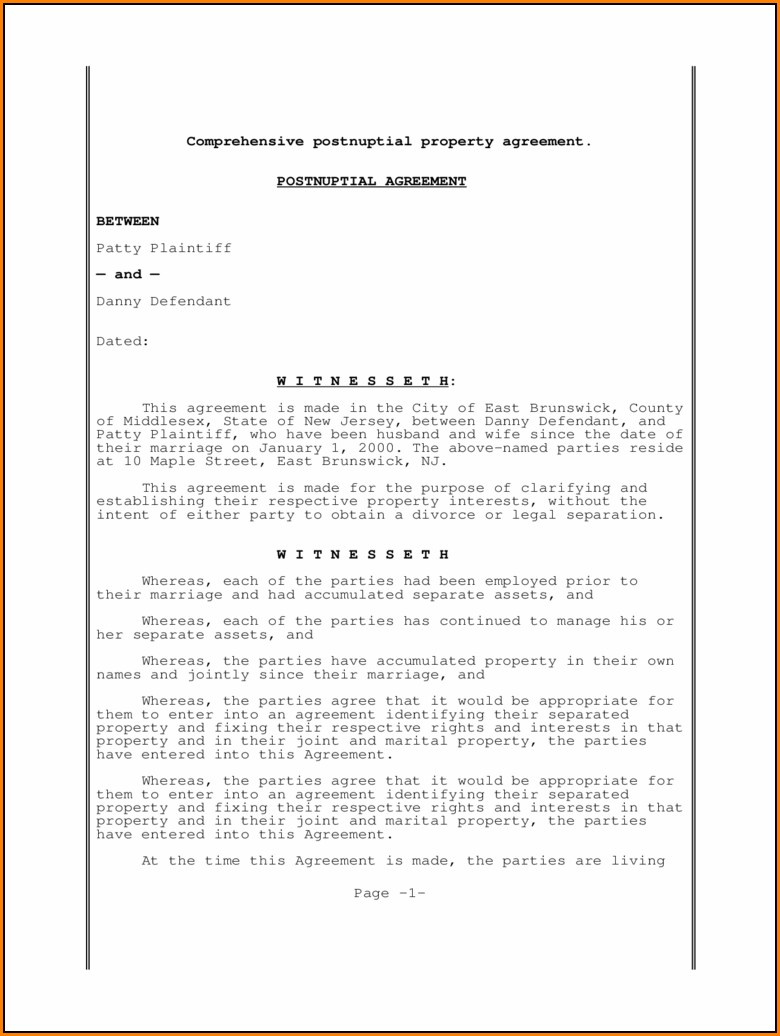 Postnuptial Agreement Form Free