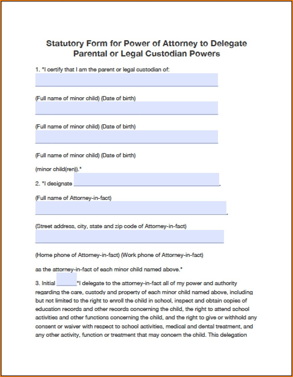 Power Of Attorney Form Oklahoma Child