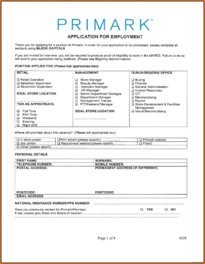 Primark Jobs Application Form Online