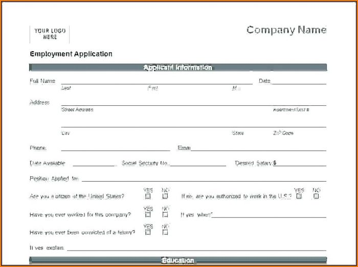 Printable Blank Job Application Form Pdf