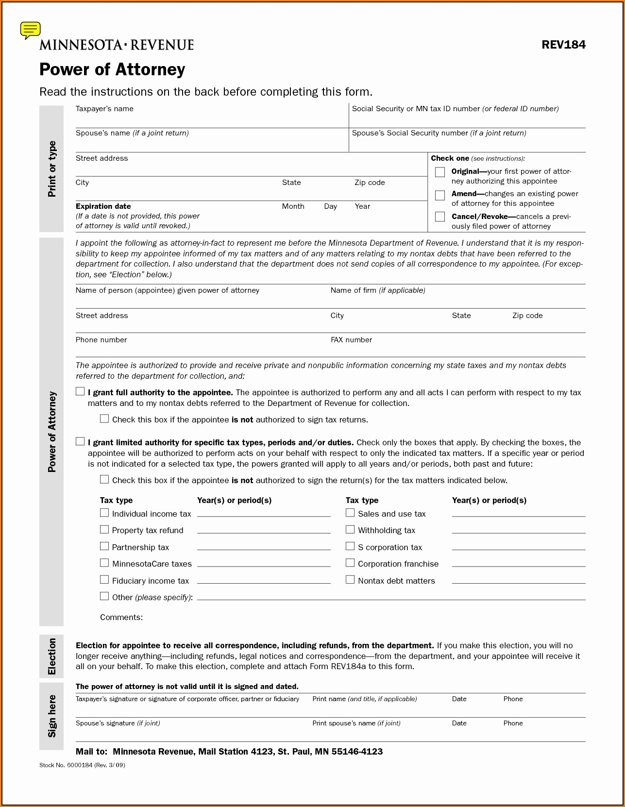 Printable Durable Power Of Attorney Form Minnesota