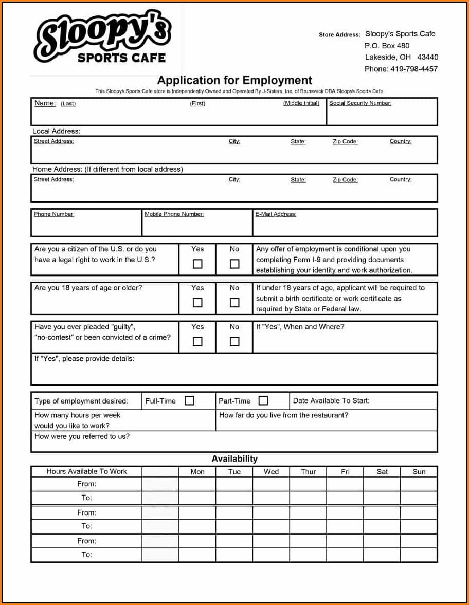 Printable Job Application Template