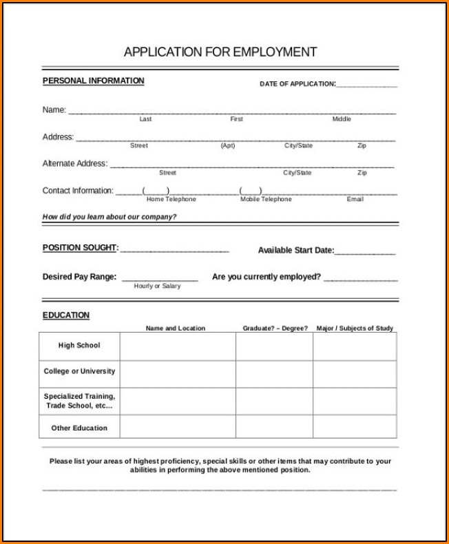 Printable Job Applications Forms