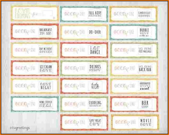 Printable Love Coupons For Him Template