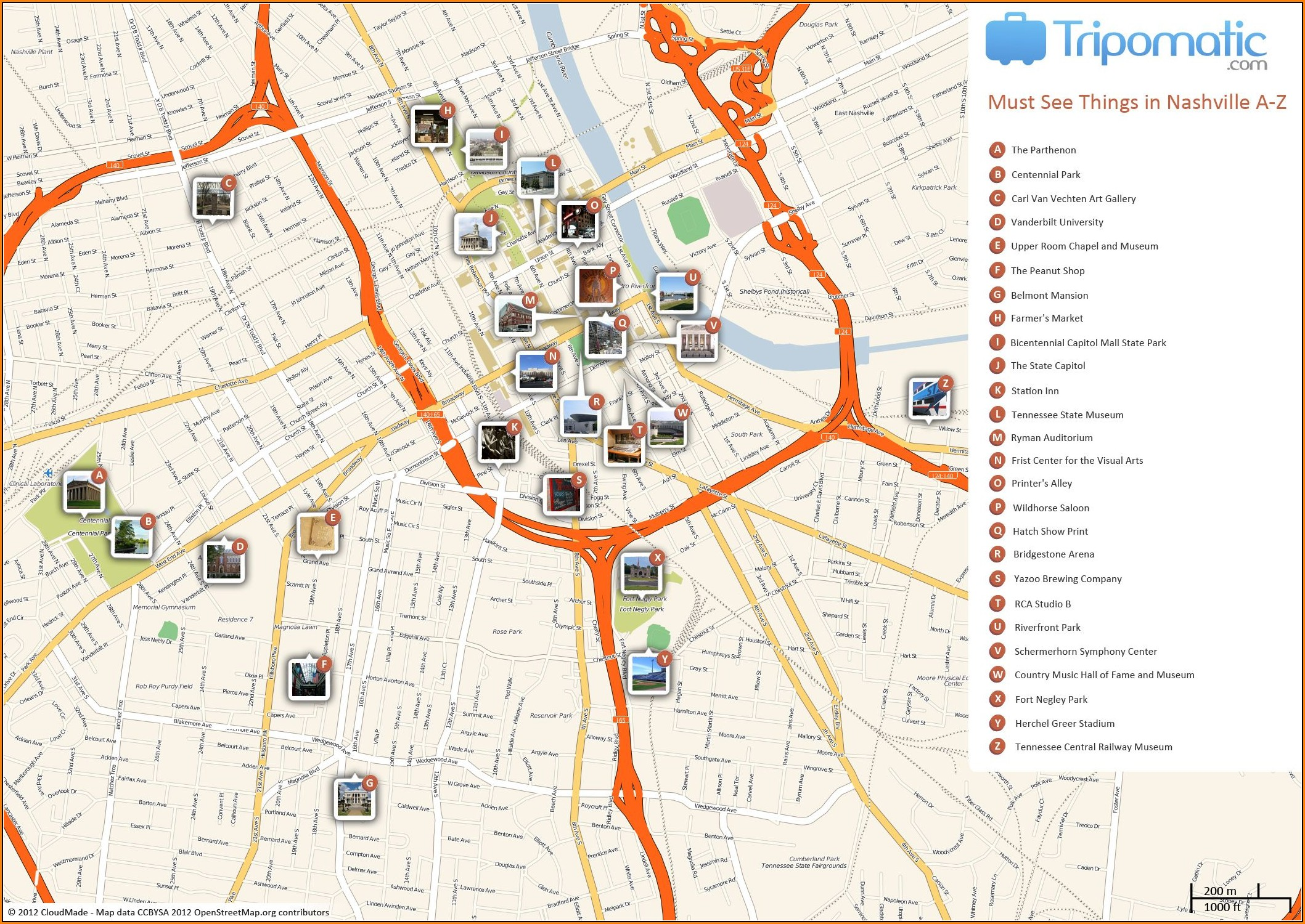 Printable Map Of Nashville Attractions