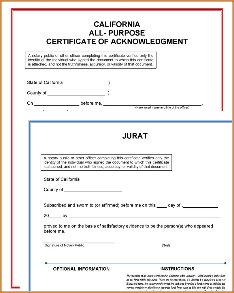 Printable Notary Forms California