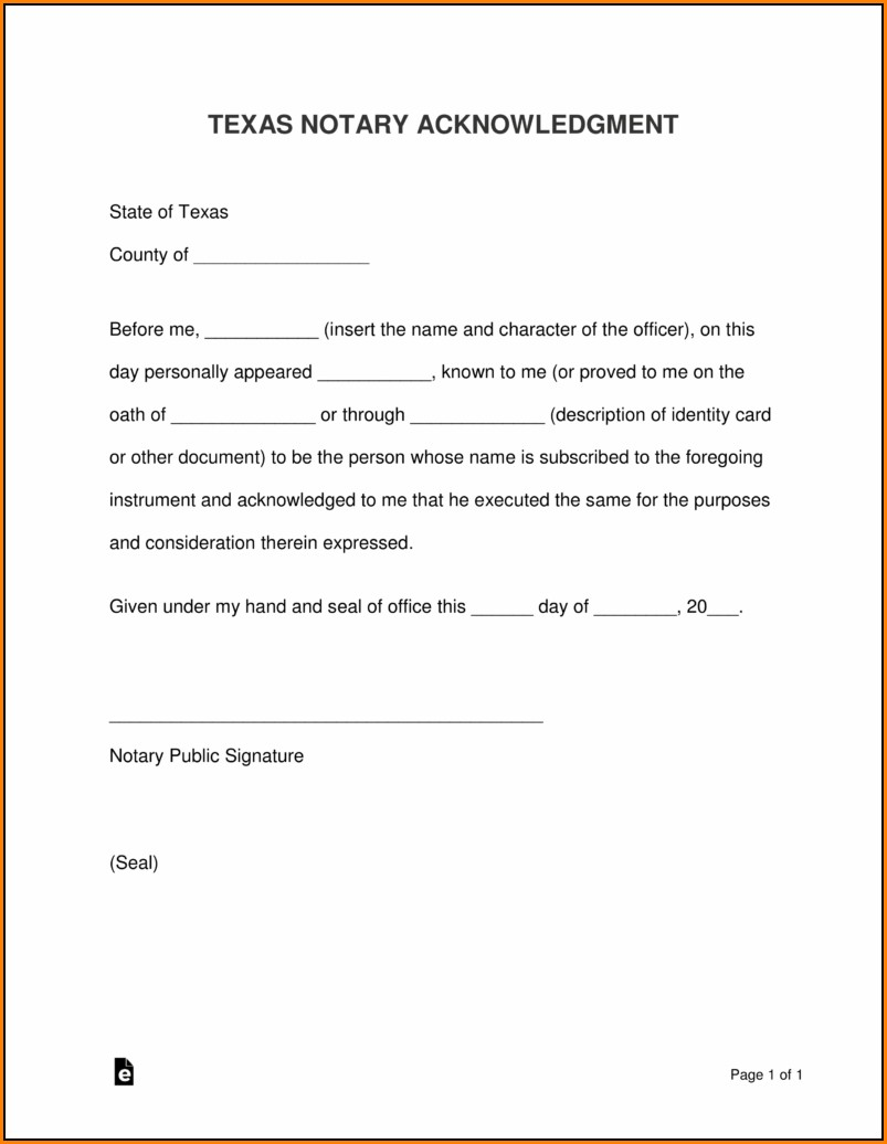 Printable Notary Forms Texas