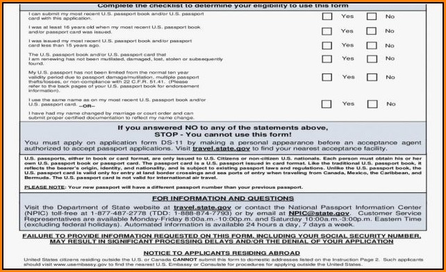 Printable Passport Renewal Form Canada