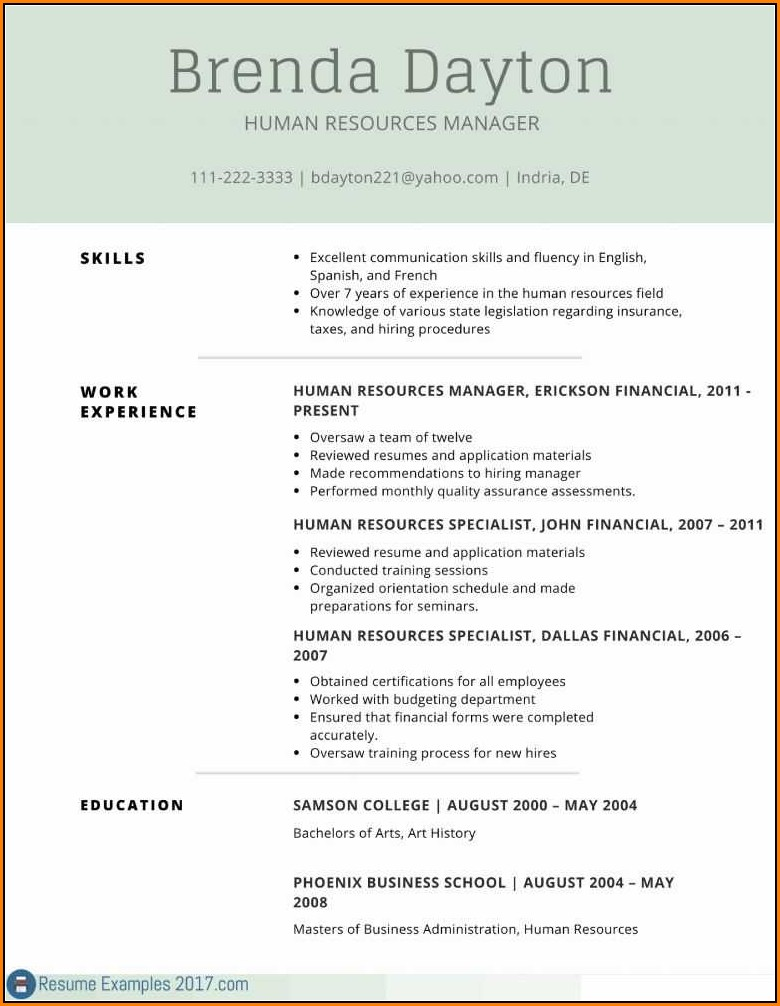 Printable Resume Examples 2017