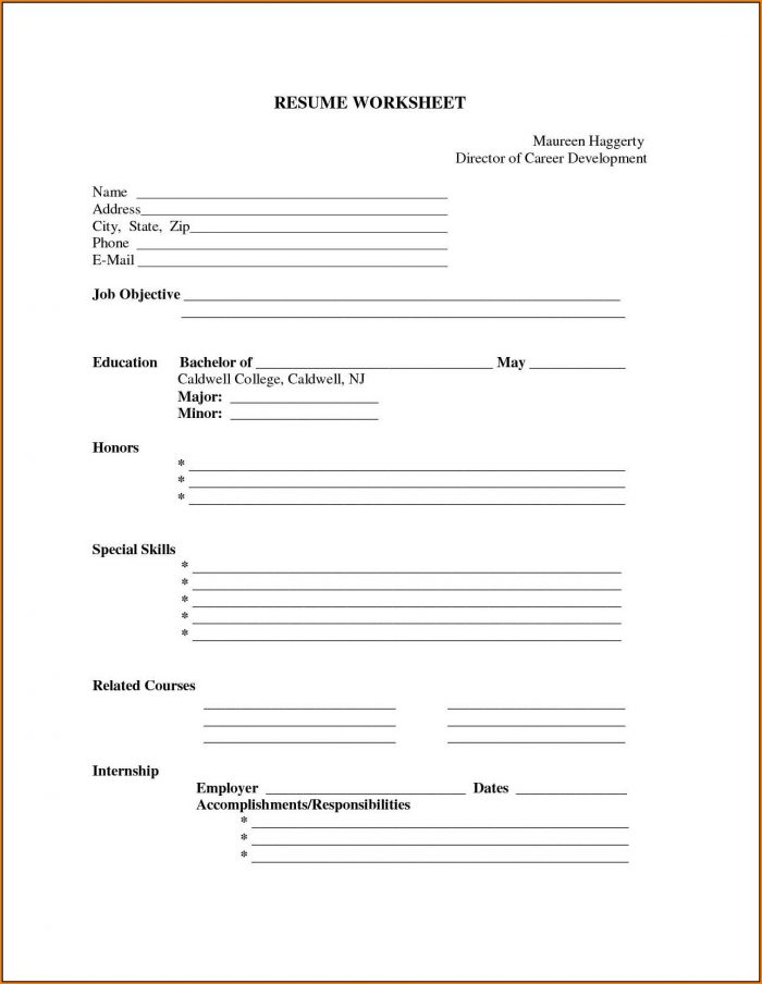 Printable Resume Forms Blank