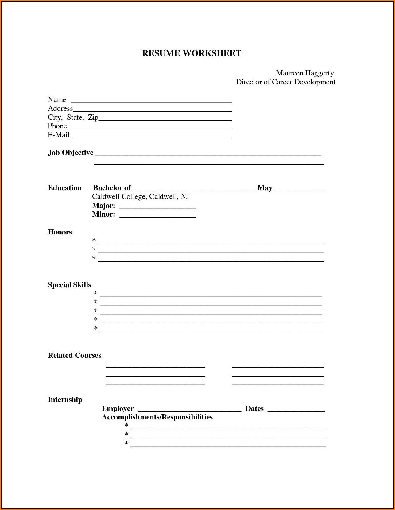 Printable Resume Forms Blank