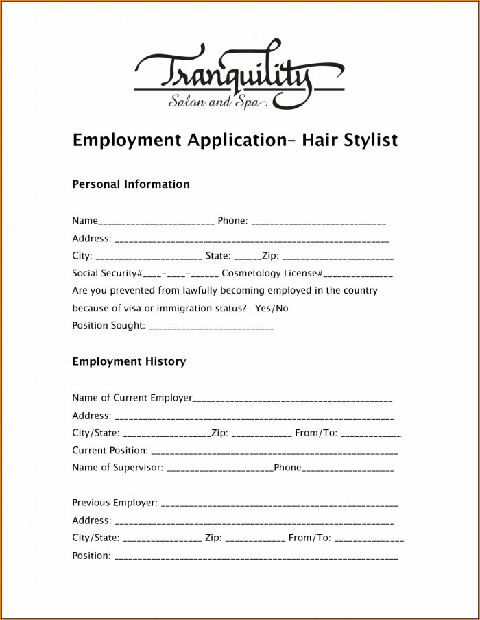 Printable Salon Job Application
