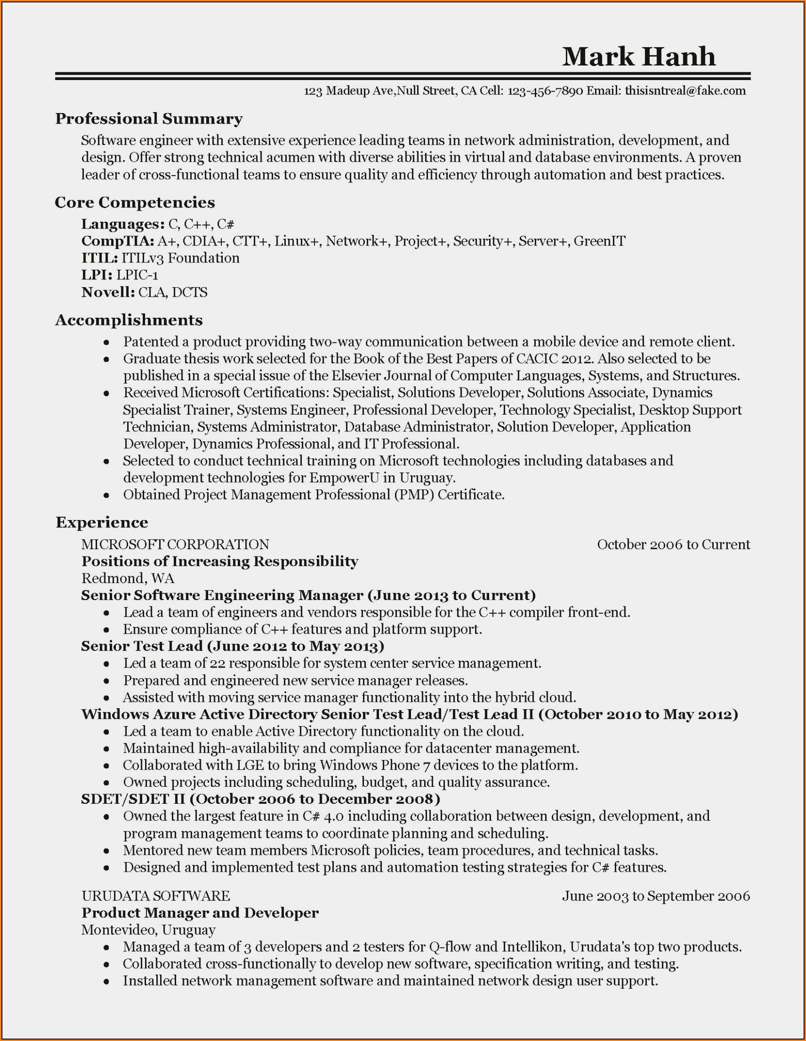 Professional Software Engineer Resume Samples