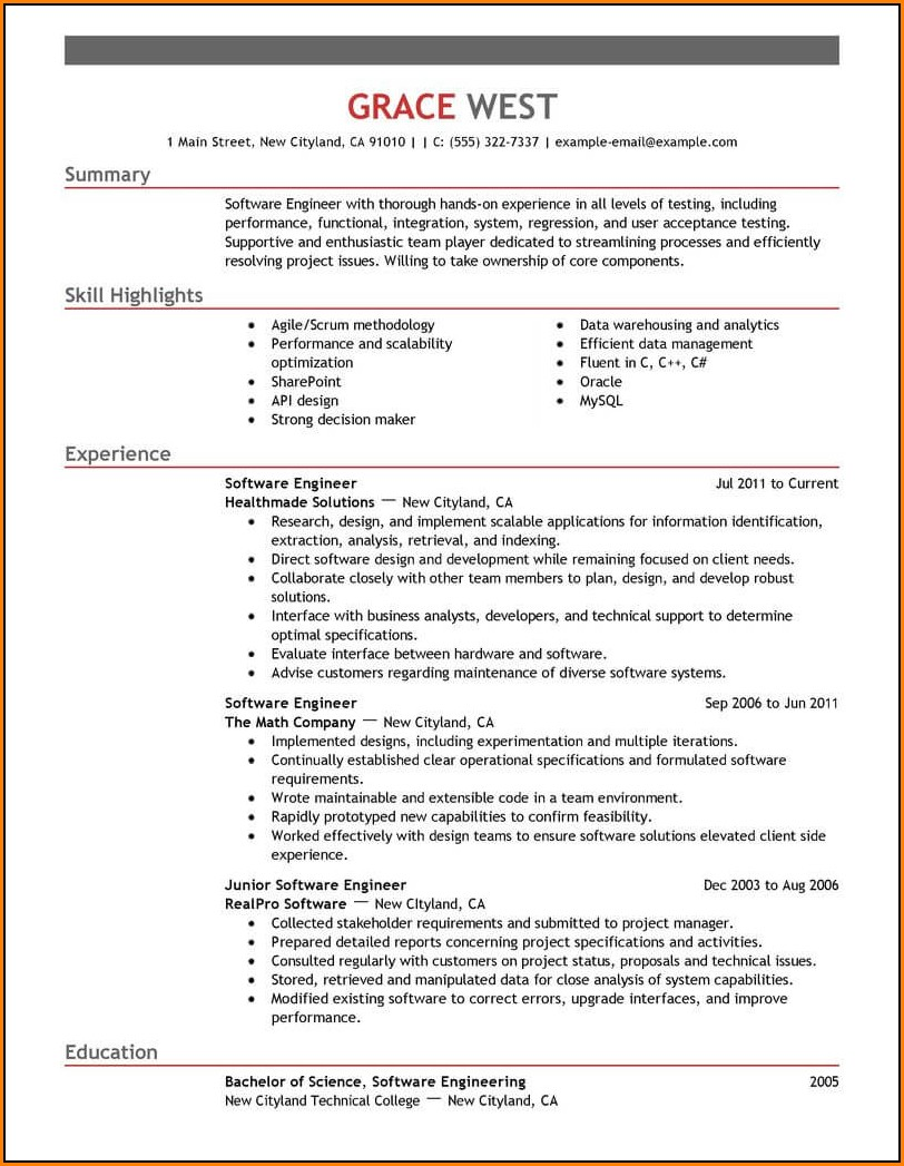 Professional Software Engineer Resume